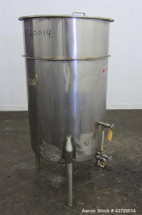 "Used- Chem-Tek Tank, 140 Gallon, 304 Stainless Steel, Vertical.  30"" Diameter x 47-1/2"" straight side.  Open top with a 1 pi..."