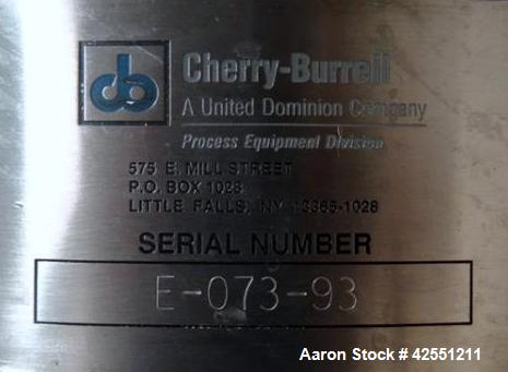 "Used- Cherry Burrell receiver, 60 gallon,  stainless steel construction. 24"" diameter x 30"" straight side, hinged dish top w..."