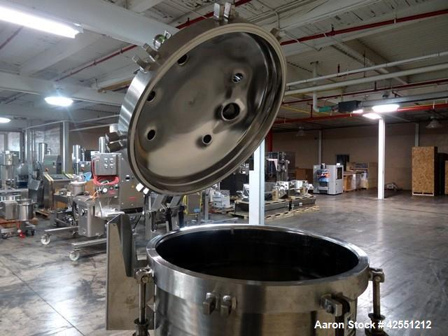 """Used- Cherry Burrell receiver, 60 gallon,  stainless steel construction. 24"""" diameter x 30"""" straight side, hinged dish top w..."""