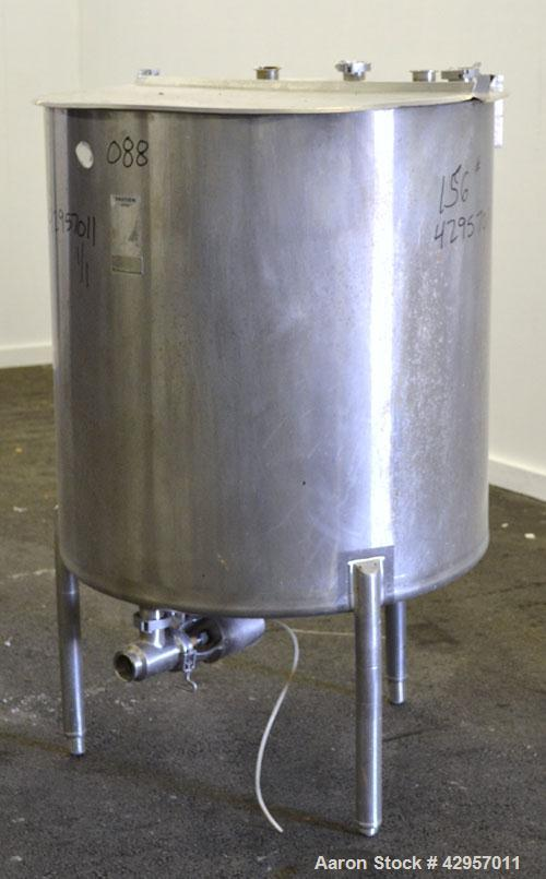 Used- Cherry-Burrell Tank, 160 Gallon, 304 Stainless Steel, Vertical. 36'' Diameter x 37'' straight side. Open top with a 2 ...
