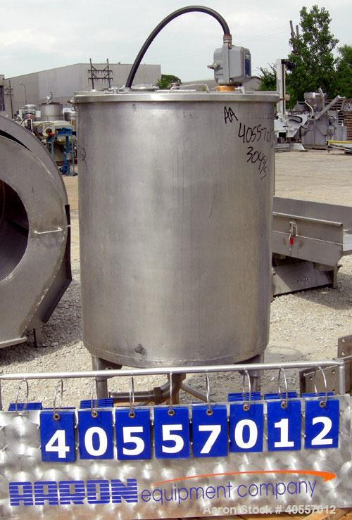 """Used- Coulter tank, 75 gallon, 304 stainless steel, vertical. 26"""" diameter x 32"""" straight side, open top a 1 piece 1/3 hinge..."""