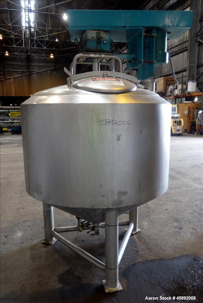 "Used- Crepaco Tank, Approximate 300 Gallon, 316 Stainless Steel, Vertical. 50"" Diameter x 30"" straight side, dished top, con..."