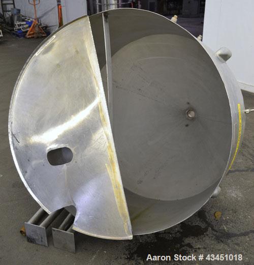 "Used- Custom Metalcraft Tank, 200 Gallon, 304 Stainless Steel, Vertical. 48' Diameter x 26"" straight side x 44"" coned bottom..."