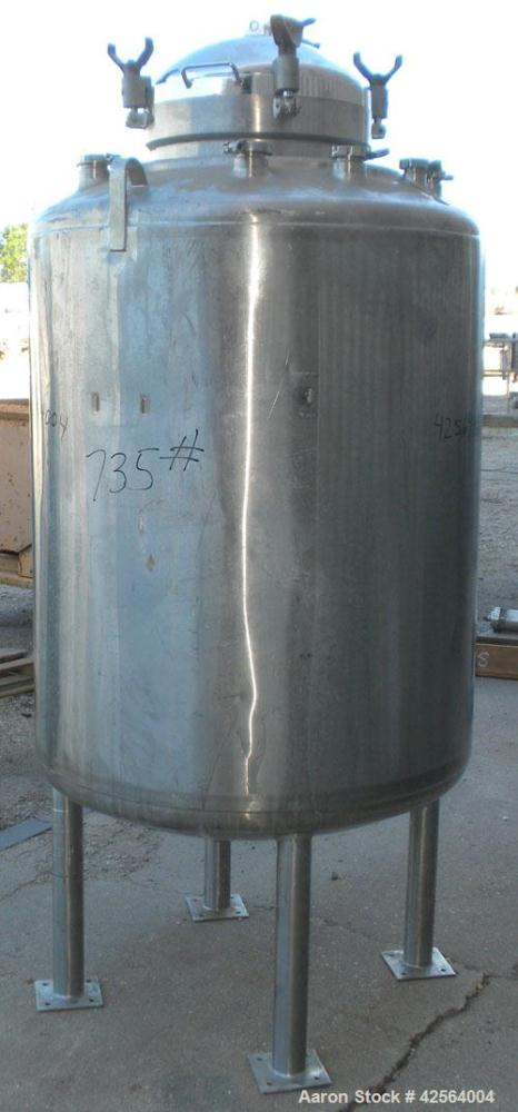 """Used- DCI WFI Storage Pressure Tank, 200 Gallon, 316L Stainless Steel, Vertical. 35-3/4'' Diameter x 42"""" straight side, dish..."""