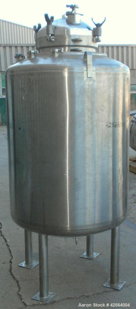 "Used- DCI WFI Storage Pressure Tank, 200 Gallon, 316L Stainless Steel, Vertical. 35-3/4'' Diameter x 42"" straight side, dish..."