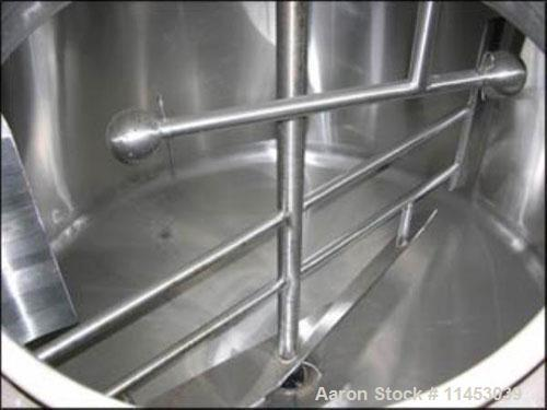 """Used-DCI mix tank, 500 gallon, stainless steel construction. 66"""" diameter x 36"""" straight side, dished top, cone bottom, top ..."""
