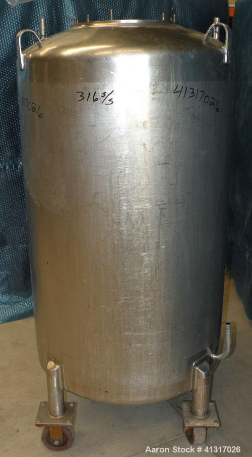 """Used- DCI Pressure Tank, 150 Gallon, 316L Stainless Steel, Vertical. 30"""" diameter x 44"""" straight side. Dish top and bottom...."""