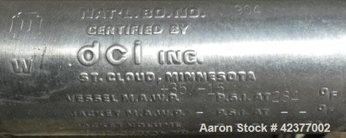"""Used- DCI Pressure Tank, 184 Gallon, 316L stainless steel, vertical. 41-3/4"""" Diameter x 26"""" straight side, dish top and bott..."""