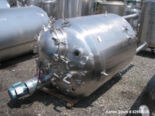 """Used- DCI tank, 1000 liters (250 gallons) 316L stainless steel constrution, approx. 42"""" diameter x 36"""" straight side, dished..."""