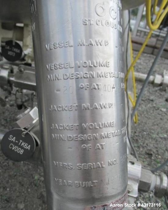 """Used- DCI Pressure Receiver, 140 Liter. 316L stainless steel construction, approximately 24"""" diameter x 20"""" straight side, r..."""