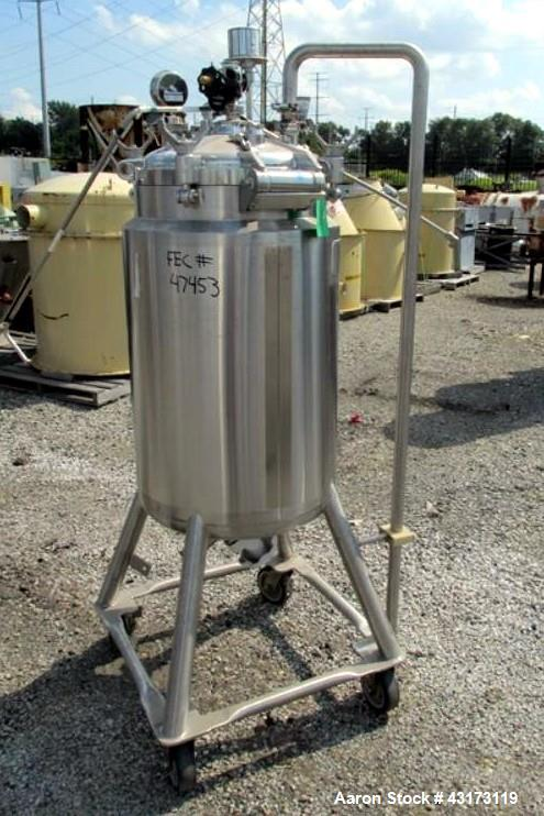 "Used- DCI receiver, 100 liter, 316 stainless steel construction, approximately 18"" diameter x 31"" straight side, removable d..."