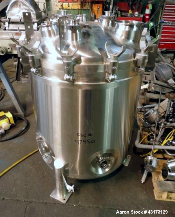 "Used-DCI Receiver, 300 Liter, 316 Stainless Steel. Approximately 30"" diameter x 31"" straight side, removable dish top, dish ..."