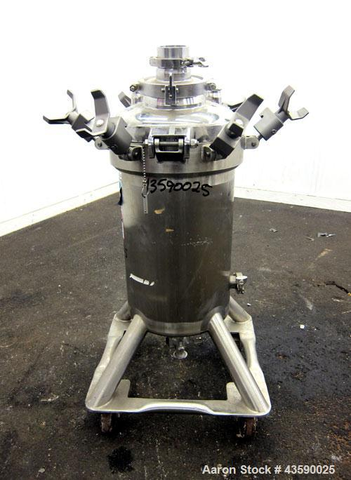 "Used- DCI Pressure Tank, 50 Liter (13.21 Gallon), 316L Stainless Steel, Vertical. Approximate 13"" diameter x 21"" straight si..."