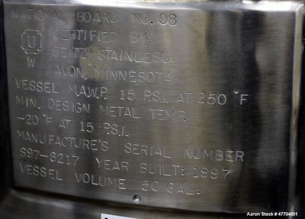 """Used- DCI Pressure Tank, 50 Gallon, 316L Stainless Steel, Vertical. 23.78"""" Diameter x 24"""" straight side, dished top & bottom..."""
