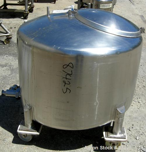"""USED: DCI tank, 100 gallon, 316 stainless steel, vertical. 38"""" diameter x 20"""" straight side, dish top, inverted dished slope..."""
