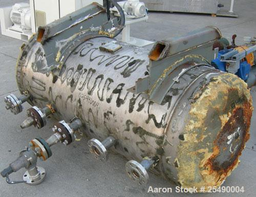 Used- Detroit Boiler Company Pressure Tank, 200 gallon, 304L stainless steel, horizontal.30'' diameter x 58'' straight side,...
