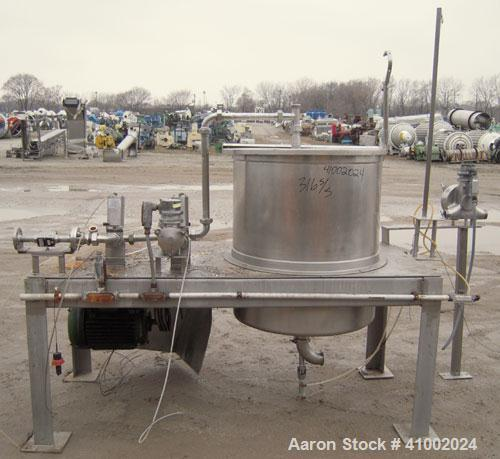 """Used- Stainless Products Pre-Mix Tank, 120 gallon, 316 stainless steel, vertical. 32"""" diameter x 36"""" straight side. Open top..."""