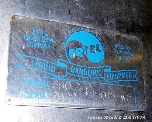 "Used- Ertel Tank, 580 Gallon, Stainless steel, Vertical. 53"" diameter x 60"" straight side, flat top, slight dished bottom. O..."
