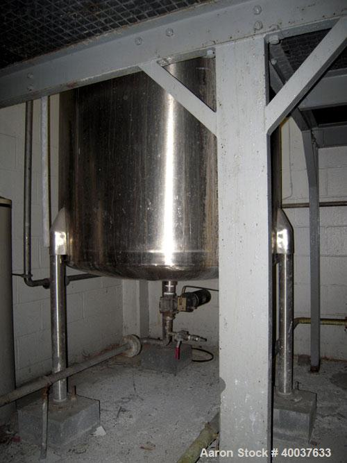 """Used- Ertel Tank, 300 Gallon, Stainless steel, Vertical. 44"""" diameter x 48"""" straight side, slight dished top, dished bottom...."""