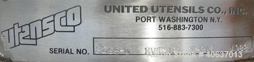 """Used- United Utensils Tank, 18 Gallon,model EVT-18,301 stainless steel, vertical.18"""" diameter x17 1/2""""straight side, op..."""