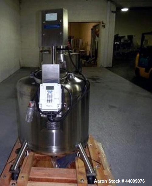 "Used- Feldmeier agitated receiver, 75 gallon stainless steel construction, 30"" diameter x 20"" straight side, semi elliptical..."
