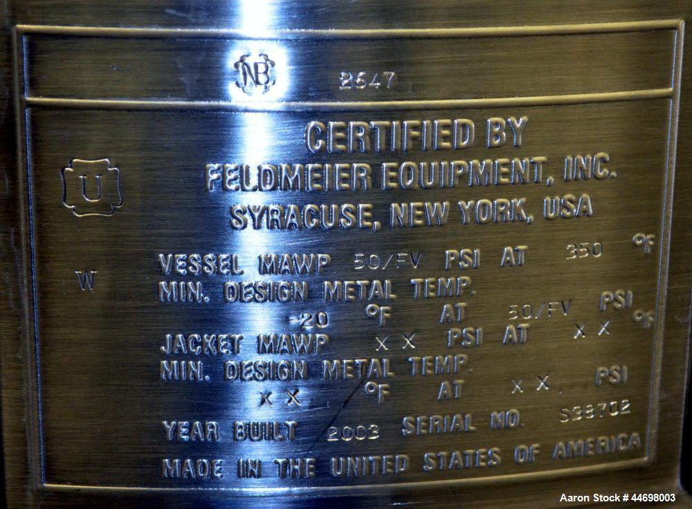 """Used- Feldmeier Pressure Tank, 200 liter (52.8 gallon), 316 L stainless steel, vertical. Approximately 24"""" diameter x 30"""" st..."""