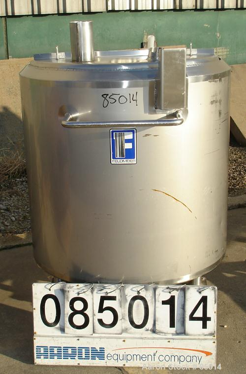 """Used- Feldmeier Tank, 150 Gallon, Jacketed, 316 Stainless Steel. 35-1/2"""" diameter x 35-1/2"""" straight side. Open top with 1"""" ..."""