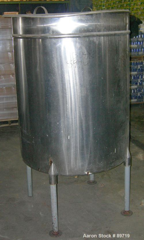 """USED: Filpaco tank, 225 gallon, 304 stainless steel, vertical. 38"""" diameter x 48"""" straight side, open top with cover, slight..."""