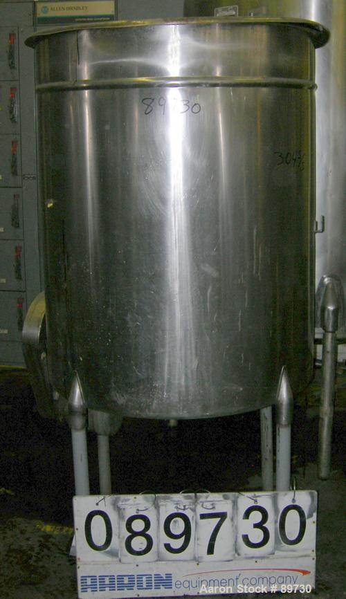 """USED: Filpaco tank, 225 gallon, 304 stainless steel, vertical. 38"""" diameter x 46"""" straight side, open top with cover, flat b..."""