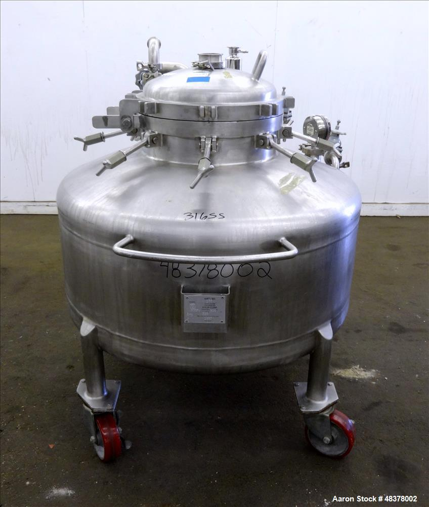 Used- Four Corp Pressure Tank, Approximately 80 Gallon, 316L Stainless Steel, Ve