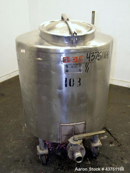 Used- 100 Gallon Stainless Steel Groen Tank