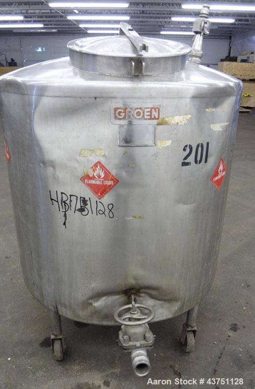 """Used- Groen Tank, 200 Gallons, 304 Stainless Steel, Vertical. 42"""" Diameter x 35"""" straight side. Dished top, 1"""" sloped bottom..."""