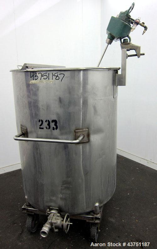 """Used- Groen Tank, 200 Gallon, 304 Stainless Steel, Vertical.  38"""" Diameter x 47"""" straight side.  Bolt-on hinged top cover, 1..."""