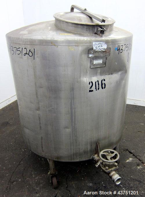 """Used- Groen Tank, 200 Gallon, 304 Stainless Steel, Vertical.  42"""" Diameter x 35"""" straight side.  Dished top, 1"""" sloped botto..."""