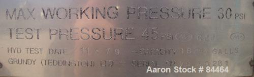 """Used- Grundy Pressure Tank, 182 gallon, 304 stainless steel, vertical. 38"""" diameter x 30"""" straight side, dished top and bott..."""