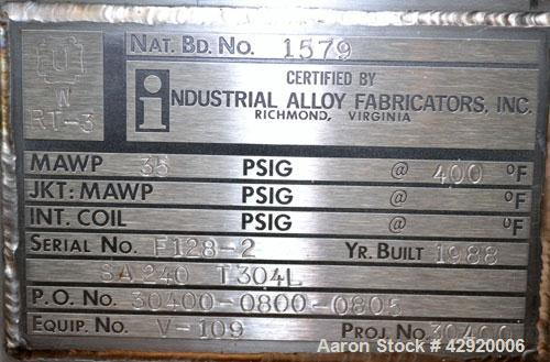 Used- 45 Gallon Stainless Steel Industrial Alloy Fab Pressure Tank