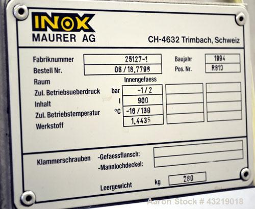"""Used- Inox-Maurer AG Pressure Tank, 900 Liter (238 Gallon), 316L Stainless Steel, Vertical. Approximate 39"""" diameter x 34"""" s..."""