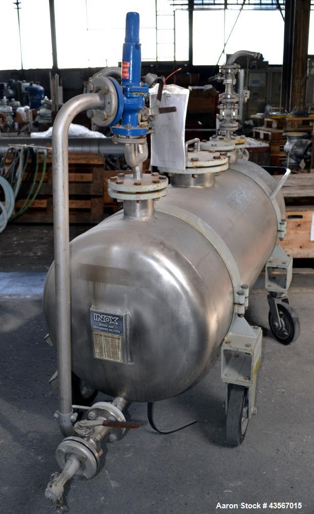 Used- Inox AG Mobile Pressure Tank, 630 Liter (166.48 Gallon), 316L Stainless Steel, Horizontal. Approximate 27 diameter x 6...