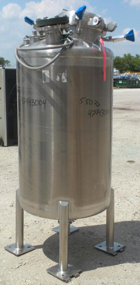 Used- ITT Industries Pure-Flo Precision Tank, 165 gallon (625 liter), 316 stainless steel, vertical. 32'' Diameter x 48'' st...