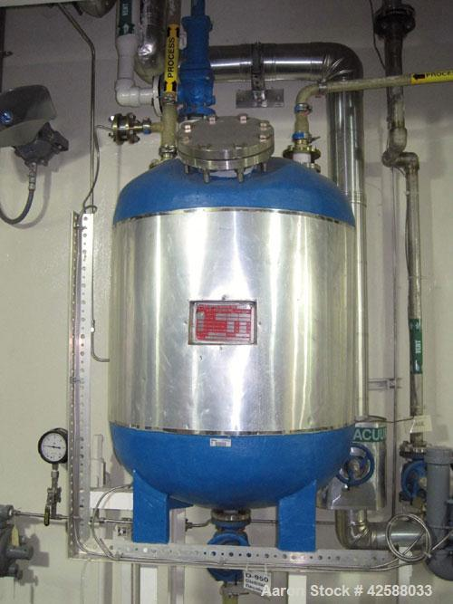 """Used- J.D. Cousins Pressure Tank, Approximately50 Gallon, 316L Stainless Steel. 24"""" Diameter x 24"""" straight side. Internal ..."""