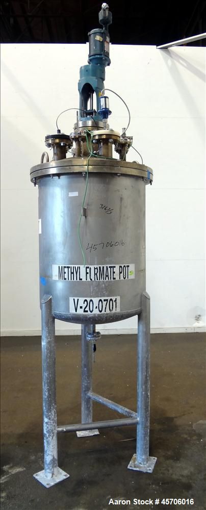 "Used- Lee Industries Pressure Tank, 113 Gallon, Model 119DBT, Teflon coated 316 Stainless Steel, Vertical, 35"" straight side..."