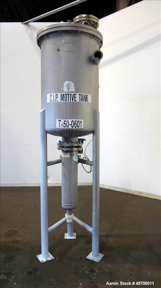 "Used- Lee Industries Teflon Lined Pressure Tank, 144 Gallon, Model 144DBT, 316 Stainless Steel, Vertical. 30"" Diameter x 44""..."