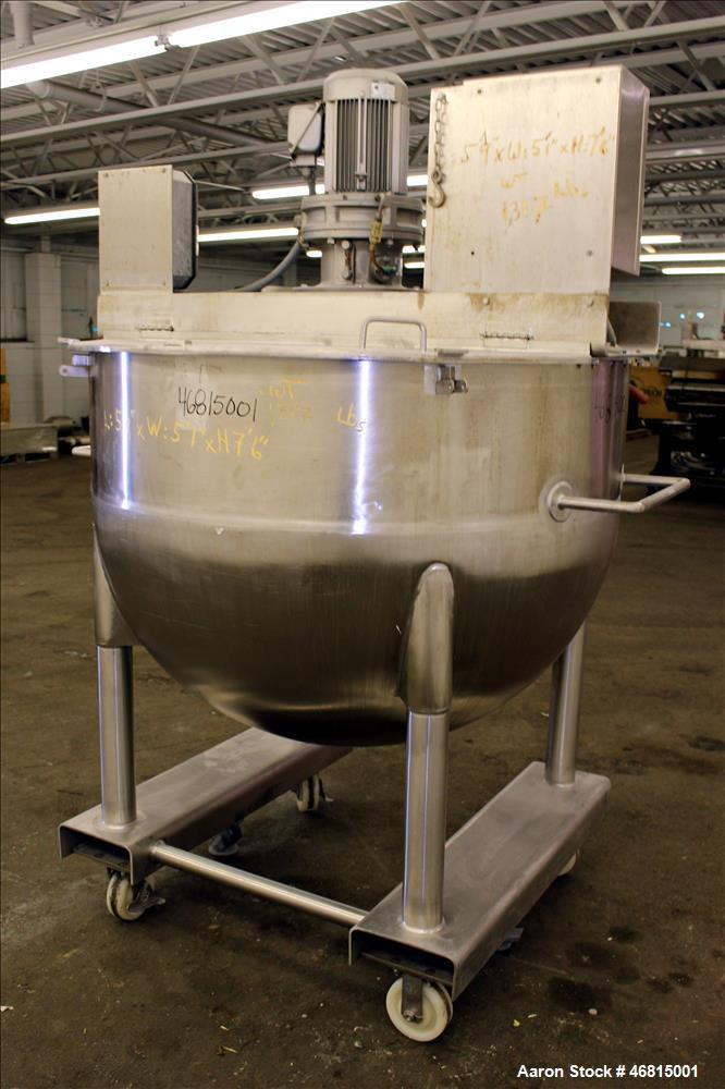 Used- Lee Industries Single Motion Mixing Tank, 250 Gallon, 316 Stainless steel,