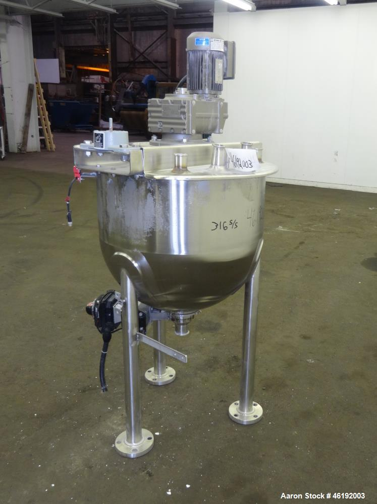"""Used- Lee Industries Tank, 40 Gallon, Model 40SSA7S, 316 Stainless Steel. 26"""" Diameter x approximately 18"""" deep. Flat top, o..."""