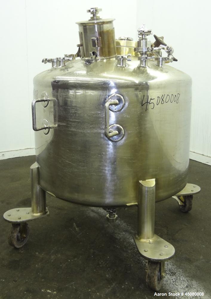 """Used- Lee Industries Pressure Tank, 500 Liter (132 Gallon), Model 500L DBT, 316L Stainless Steel, Vertical. 40"""" Diameter x 2..."""