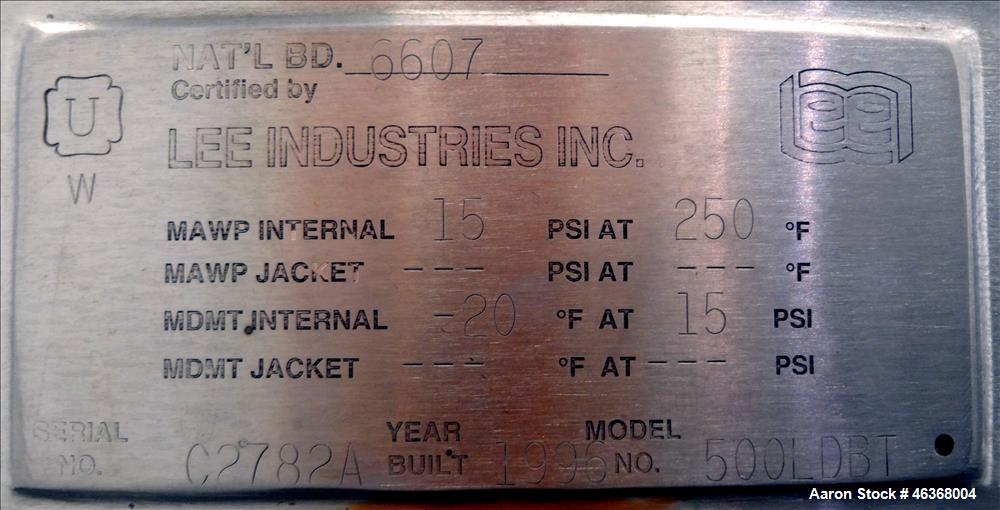 """Used- Lee Industries Pressure Tank, 132 Gallons (500 Liters), Model 500LDBT, 316L Stainless Steel, Vertical. 36"""" Diameter x ..."""
