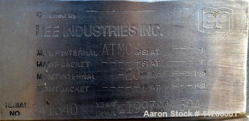 """Used- Lee Industries Tank,  50 Gallon, Model 50A, 316 Stainless Steel, Vertical. Approximate 30"""" diameter x 27"""" deep. Dished..."""