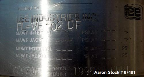 Used- 5 Gallon Stainless Steel Lee Industries Tank, Model 5DBT
