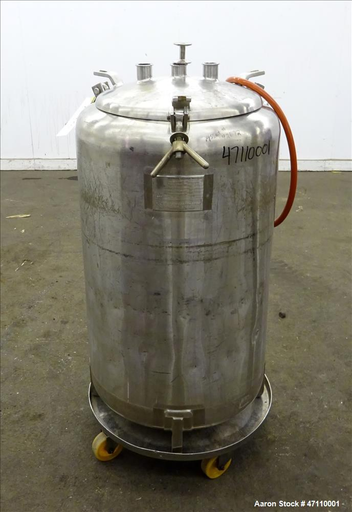 "Used- Letsch Pressure Tank, 60 Gallon Capacity, 316L Stainless Steel, Vertical. Approximate 23"" diameter x 32"" straight side..."