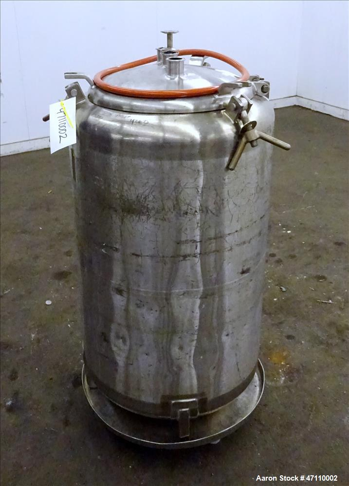 """Used- Letsch Pressure Tank, 60 Gallon Capacity, 316L Stainless Steel, Vertical. Approximate 23"""" diameter x 32"""" straight side..."""